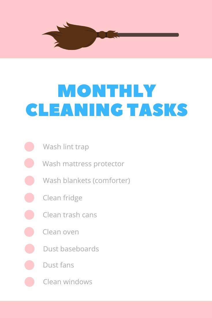 Monthly Cleaning Tasks